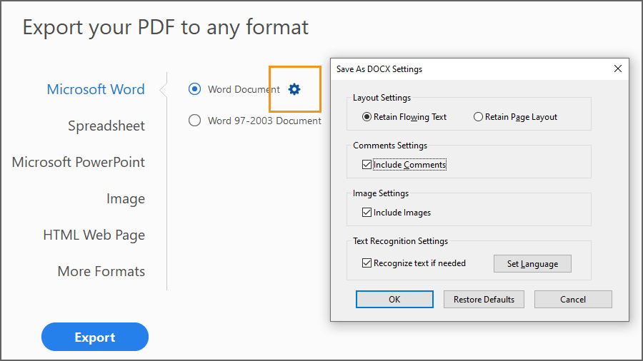 Export PDF dialog box showing Doc settings for layout, comments, images and text recognition