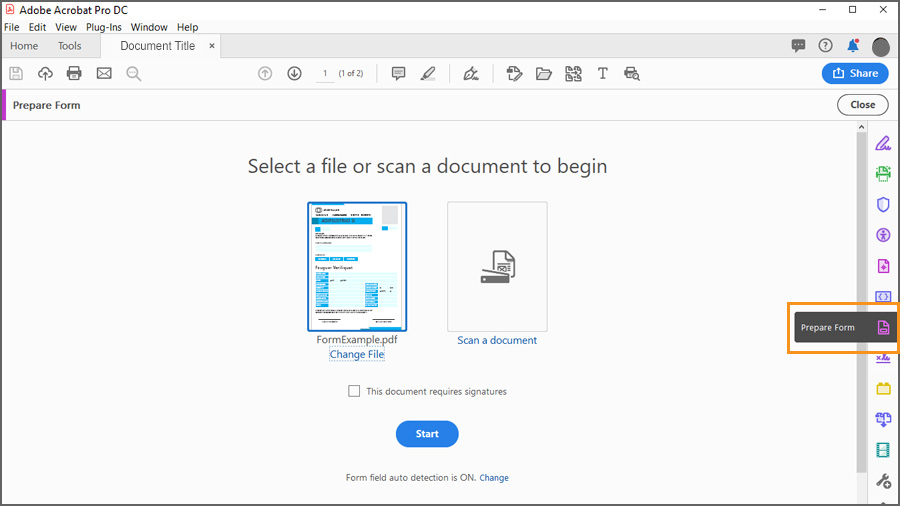 Prepare Form screen showing select file or scan from document to begin and start button