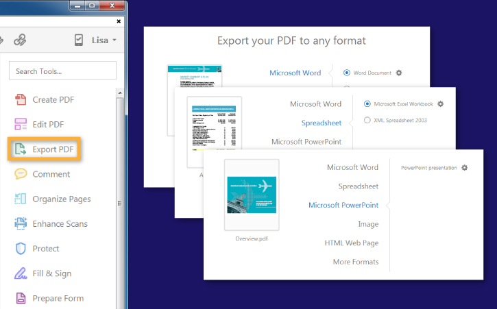 How to export PDF to Word, Excel, and other Microsoft