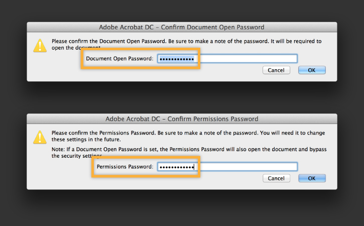 Password protect PDF Step 4-2, click ok