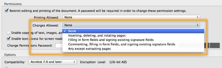 Password protect PDF Step 3-3, changes allowed permissions