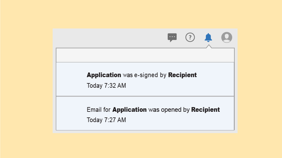Notifications window showing two notifications that the sample document Application was opened by recipient today at 7:27 AM and e-signed by recipient today at 7:32 AM