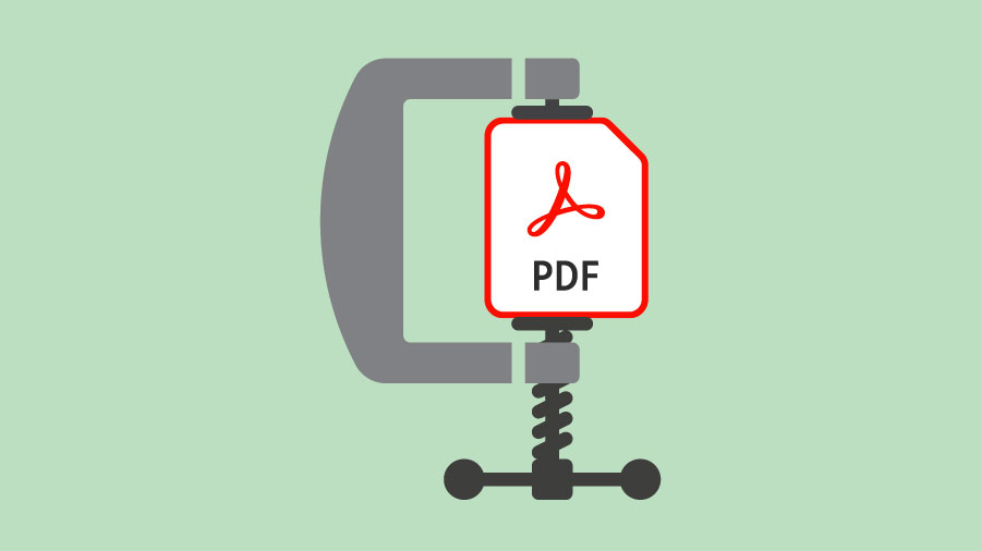 Clamp compressing PDF document to symbolize file size compression