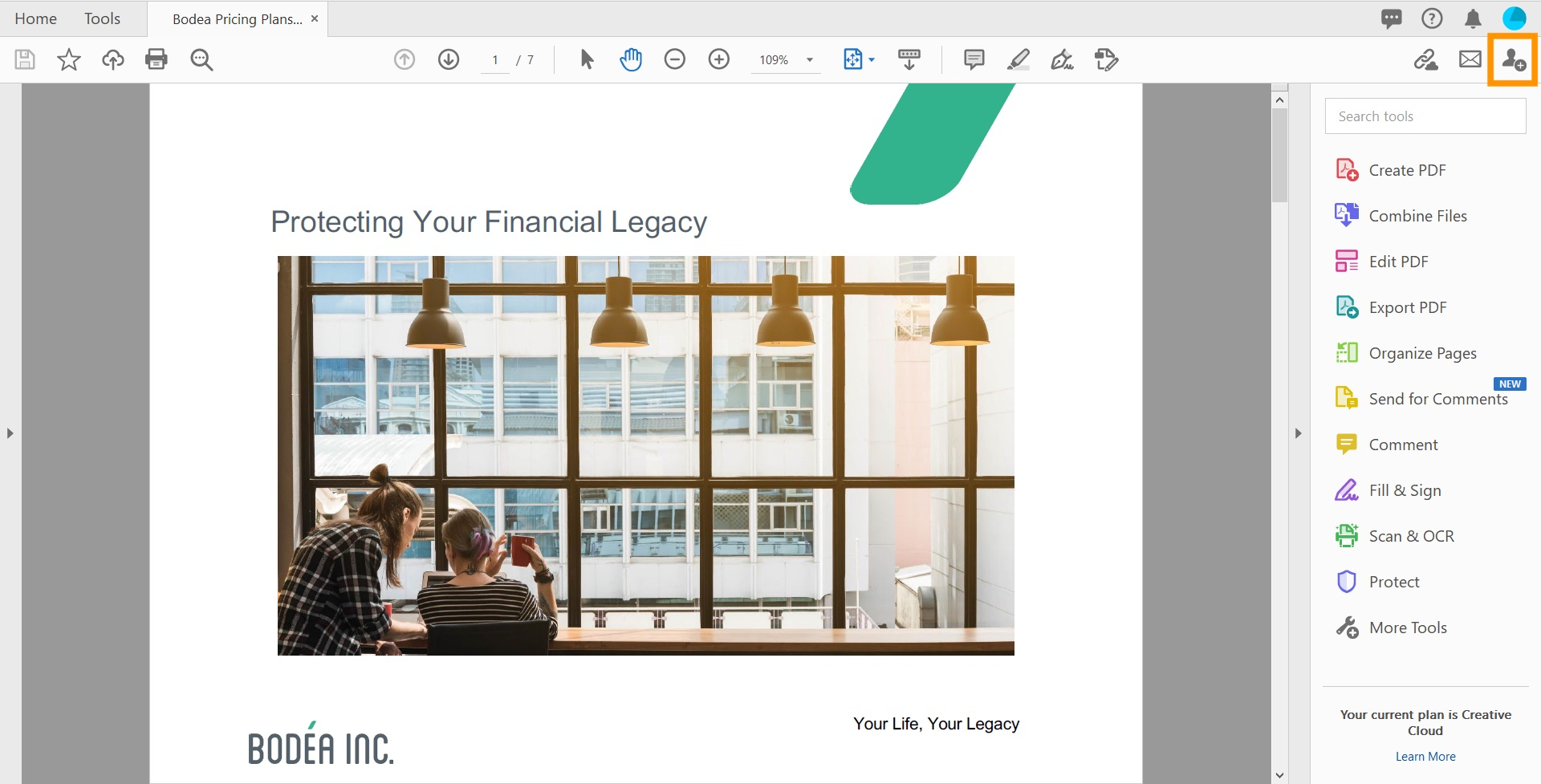 The Bodea brochure titled Protecting your Financial Legacy appears alongside the Acrobat DC workspace with the Share button selected and the new menu item Send for Comments highlighted.