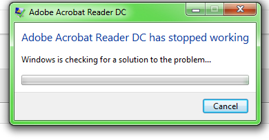 Adobe Acrobat Reader DC stopped working message