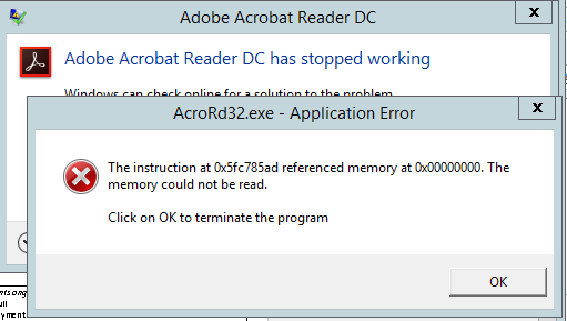 AcroRd32.exe application error