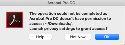 Educational dialog for OS permission