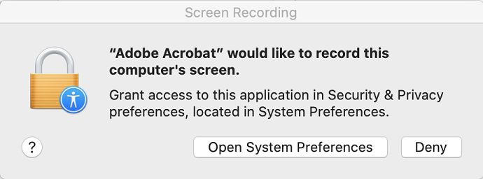 Educational dialog for screen recording permission