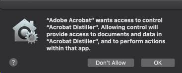 Acrobat prompt for Distiller access