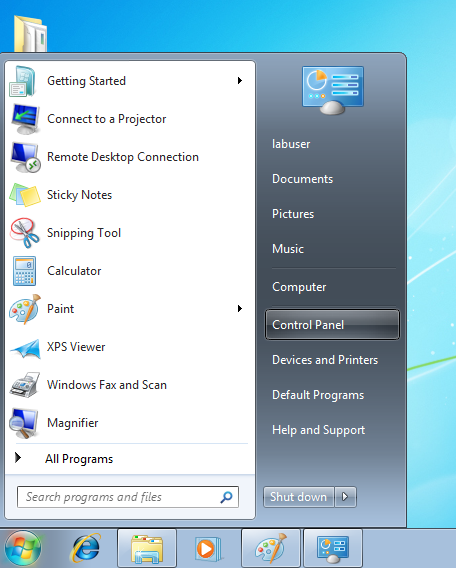 Go to Control panel under the Start menu