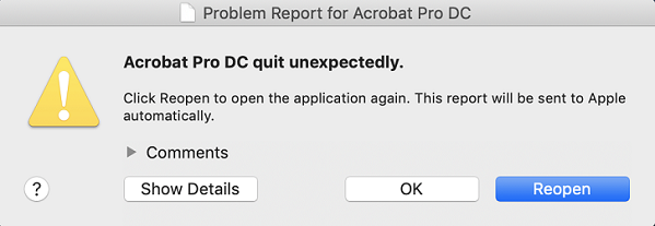 Acrobat crashes on clicking the attach to email icon | macOS Mojave