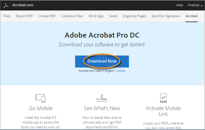 Download Acrobat DC page