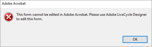 Error when you edit XFA form in Acrobat