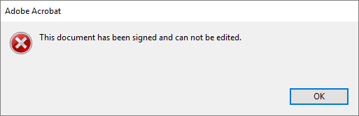 Error on editing a signed PDF