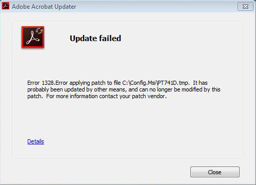 Error 1328 update failed