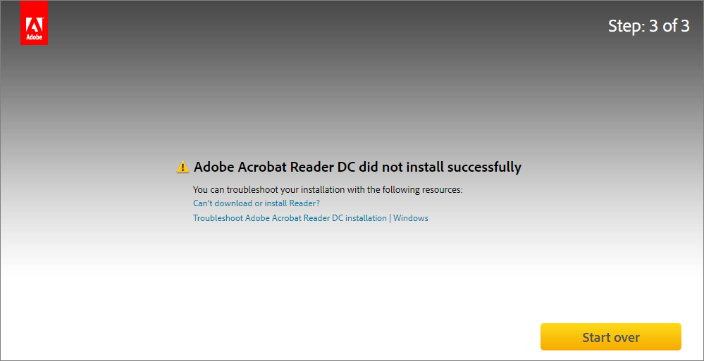 Error during installation from Acrobat Reader Download center