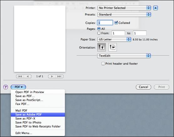 Error in saving as Adobe PDF | macOS Mojave 10 14