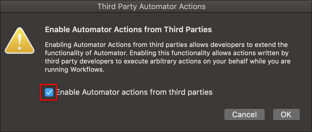 Third party automator actions dialog