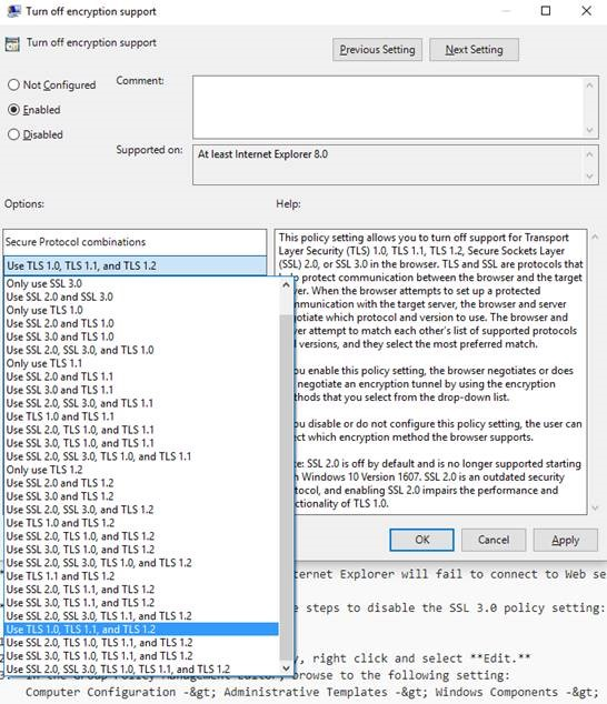 Select a setting containing TLS 1.2