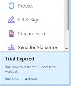 Trial Expired message
