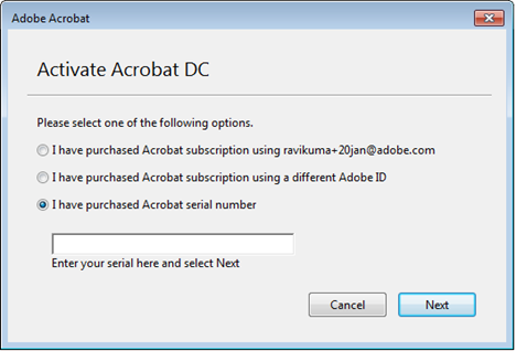 Activate Acrobat DC with a serial number