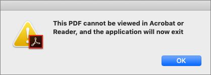 PDF cannot be viewed in Acrobat or Reader error