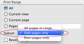 Choose File, Print Odd Pages Only