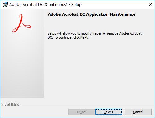Uninstalling Acrobat Reader DC removes Adobe Acrobat extension from