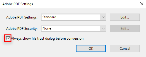 Uncheck to disable the security dialog