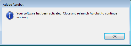 Activation confirmation dialog box