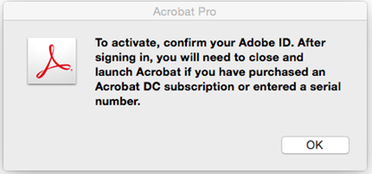 Activation information dialog box