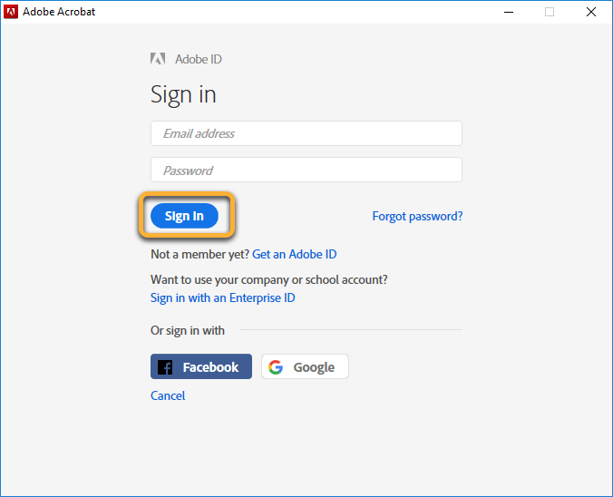 Adobe ID sign in dialog box