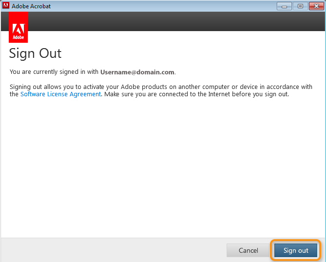 Sign Out dialog box