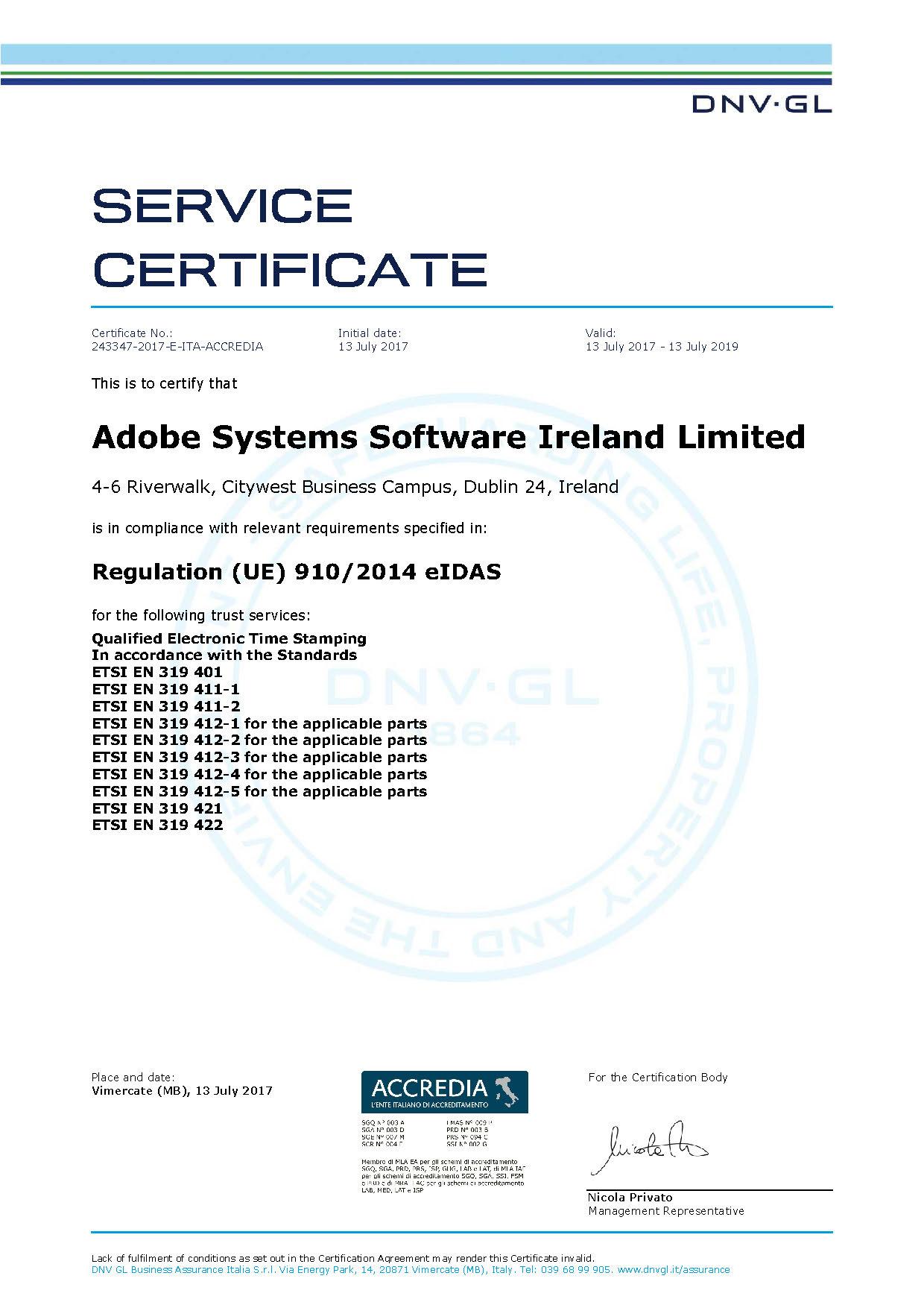 Adobe trust services dnv gl qtst service certificate xflitez Images