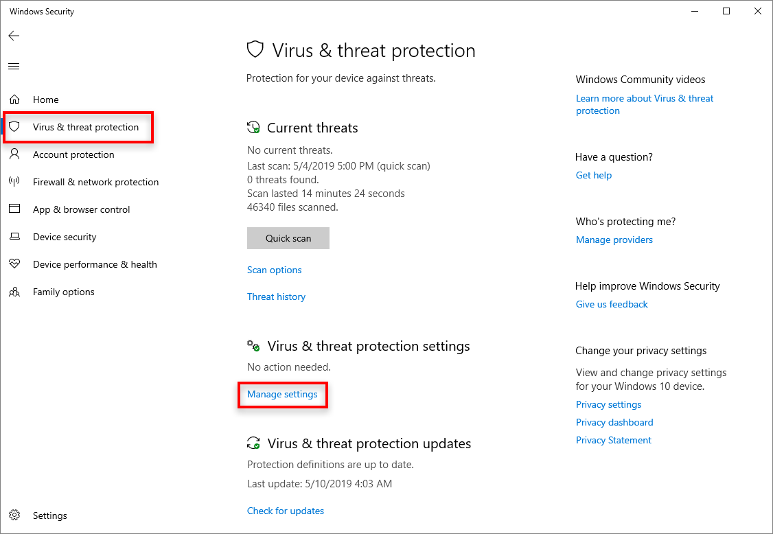 Click Manage Settings in Virus & threat protection settings