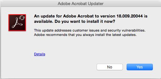 Manually update Adobe Acrobat software
