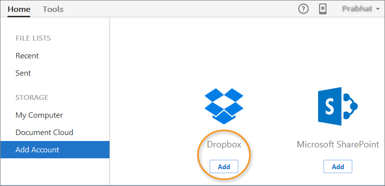 Dropbox integration in the Home view