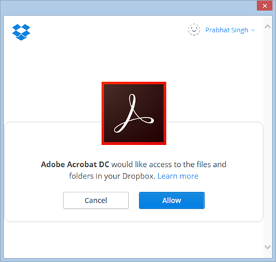 Confirmation to add your Dropbox account with Acrobat or Reader