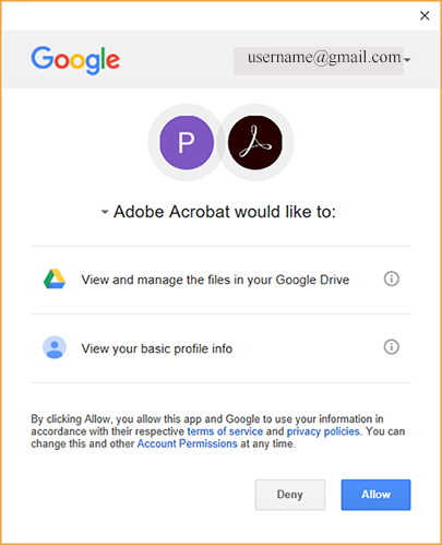 Confirmation to add your Google Drive account with Acrobat