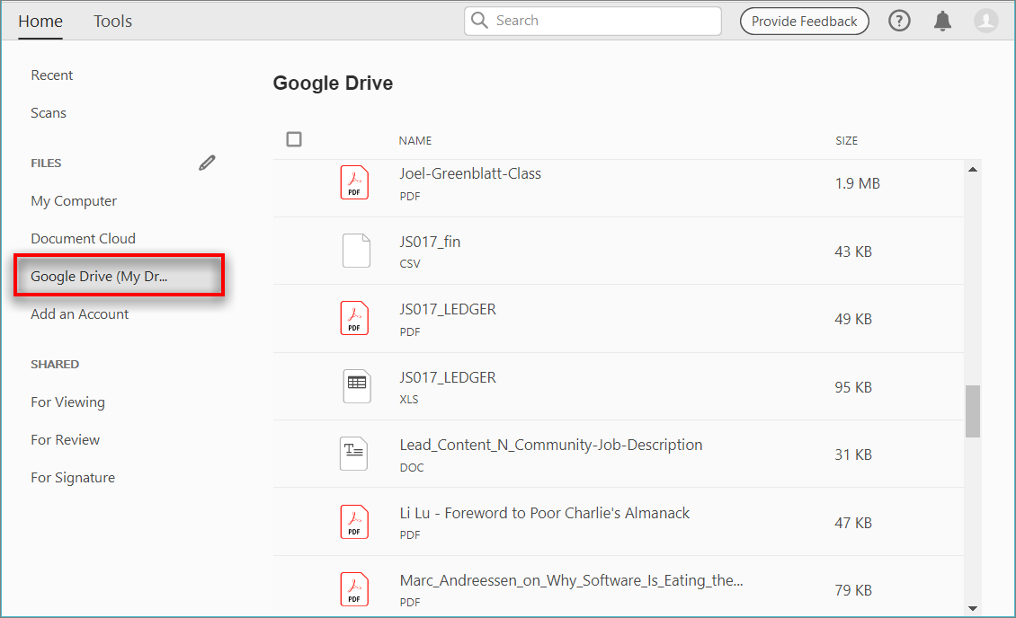 Your Google Drive files in Home View