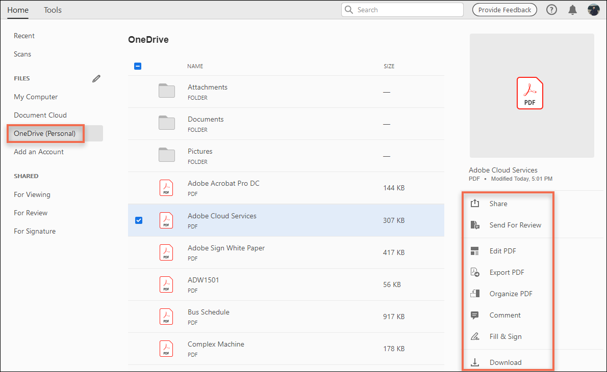Access your OneDrive files in Acrobat/Reader