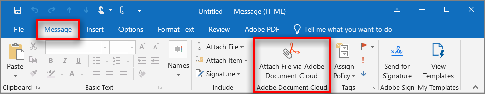 Attach File via Adobe Document Cloud button