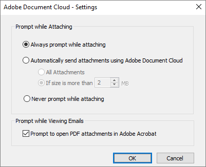 Adobe Document Cloud settings