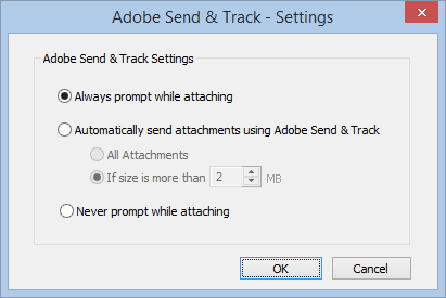 Adobe Send & Track settings