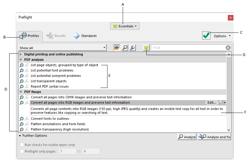 Analyzing documents with the Preflight tool (Adobe Acrobat Pro)