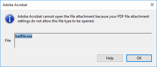 Cannot open incompatible attachment dialog
