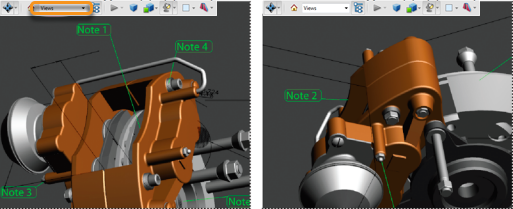 When the view of a 3D object is changed, any comment associated with that object disappears (right)