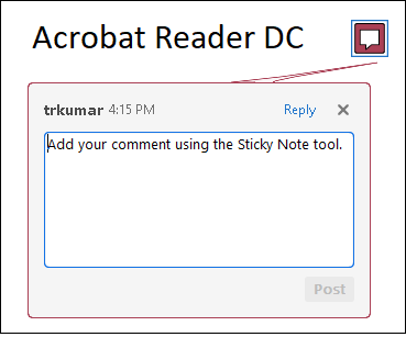 Sticky note comment in Acrobat