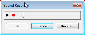 Sound recorder dialog box