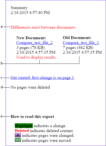 Document compare summary